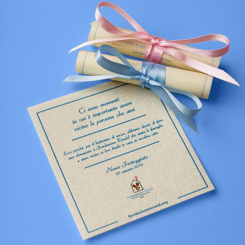 Pergamena 12,5x17,5 cm personalizzata - Battesimo